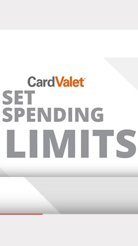CardValet app set spending limits screen on smartphone
